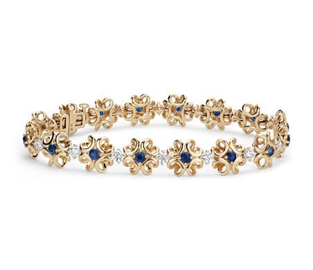 Bracelet diamant et saphir Colin Cowie en or jaune 14carats