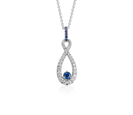 Sapphire and Diamond Infinity Pendant in 14k White Gold