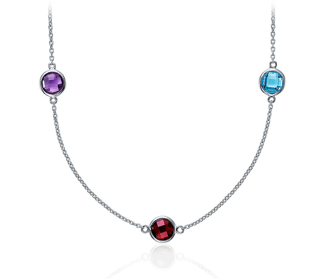 Multi Colour Gemstone Necklace in Sterling Silver - 36