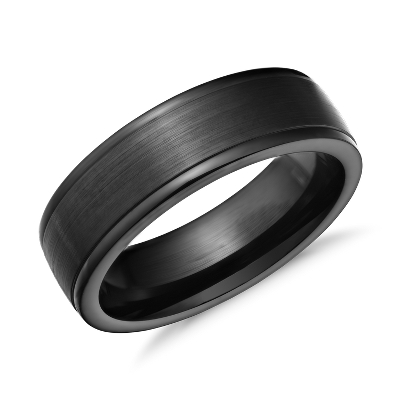 Satin Finish Wedding Ring in Blackened Cobalt 7mm Blue Nile