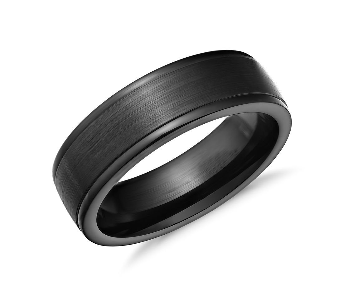 satin finish wedding ring in blackened cobalt 7mm - Cobalt Wedding Rings