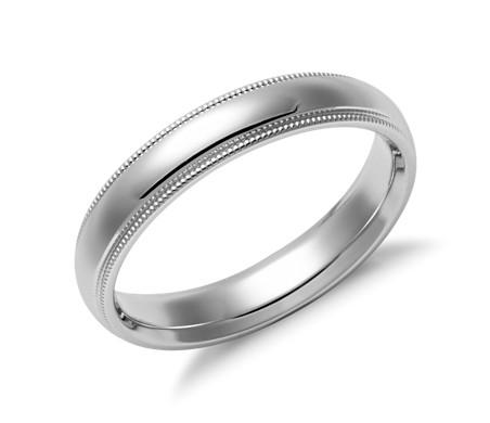 Milgrain Comfort Fit Wedding Ring In 14k White Gold 4mm
