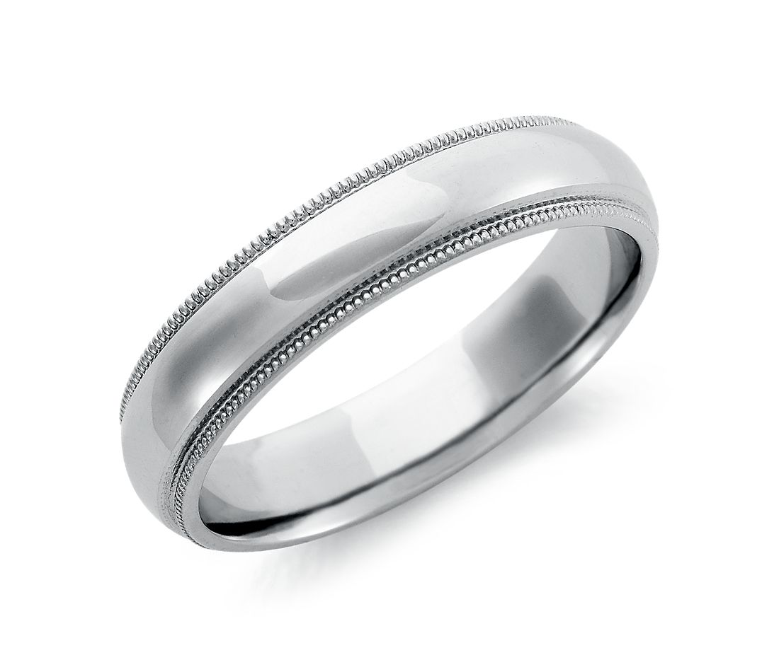 Milgrain Comfort Fit Wedding Ring In Palladium 5mm