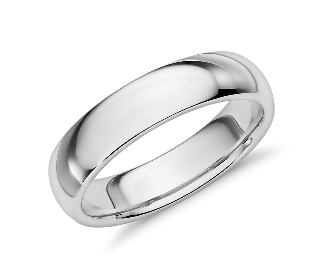 comfort fit wedding ring in platinum 5mm - Wedding Rings Men