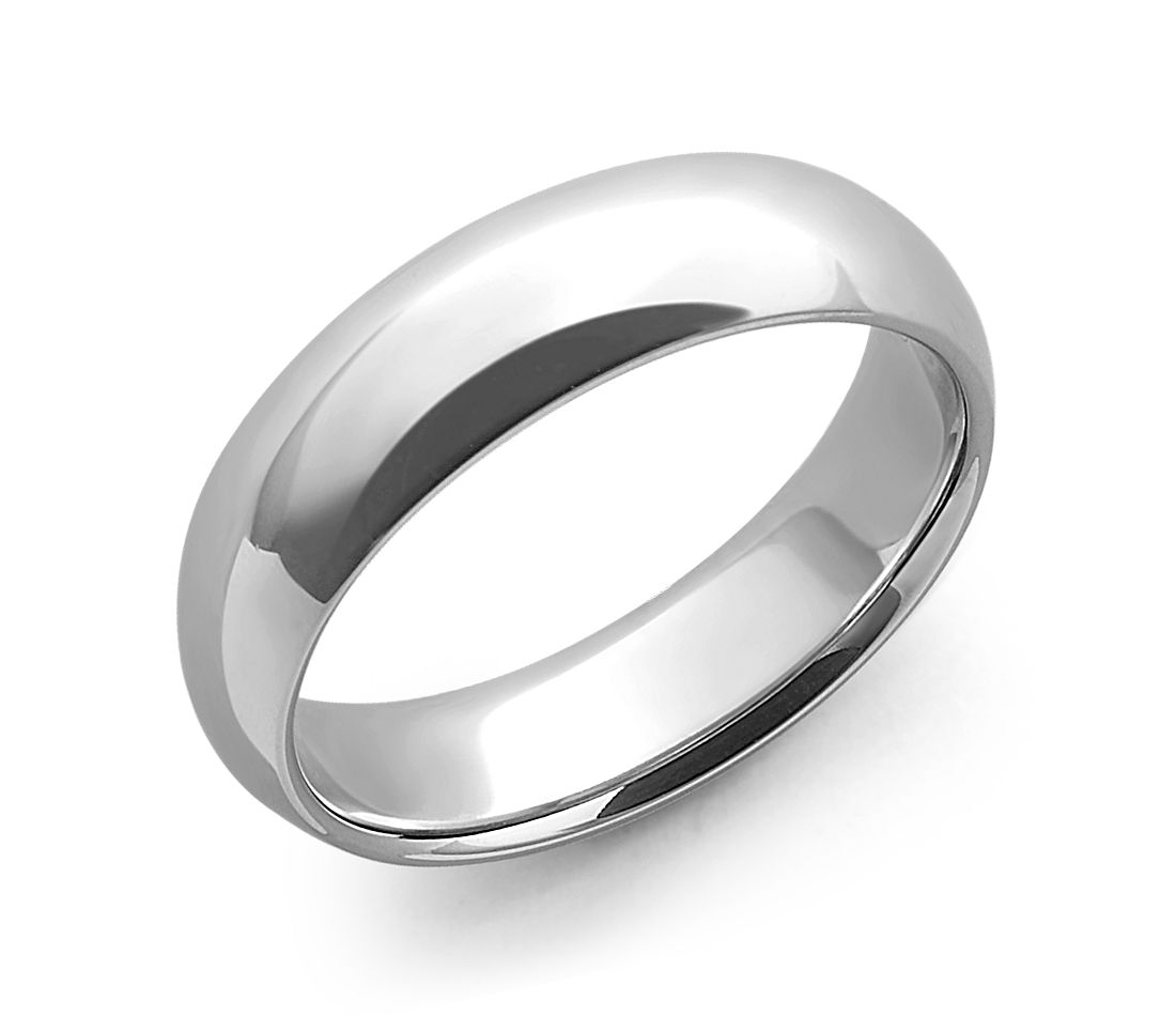 White Gold Bands: Comfort Fit Wedding Ring In 14k White Gold (6mm)
