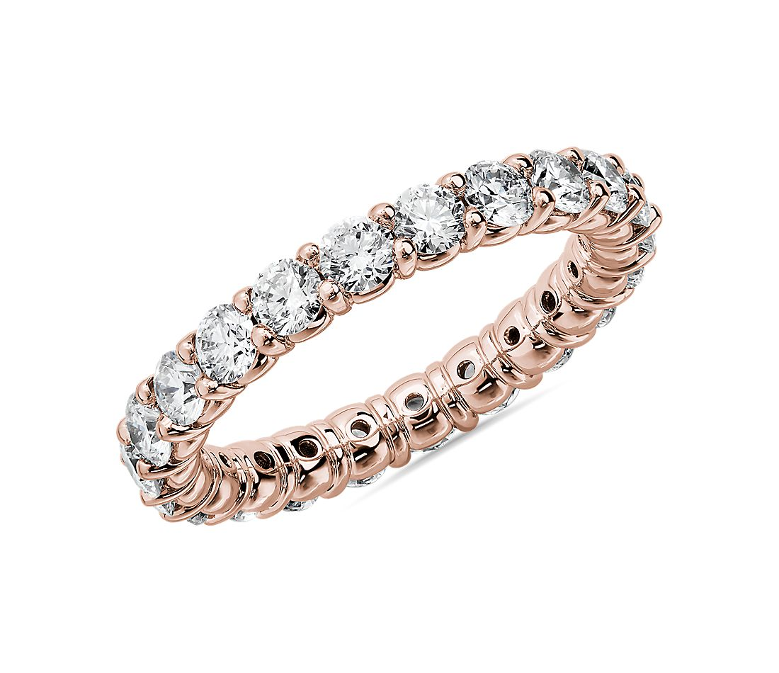 Comfort Fit Round Brilliant Diamond Eternity Ring in 14k Rose Gold (2 ct. tw.)