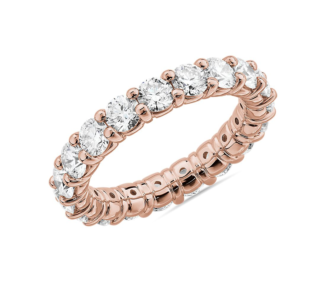 Comfort Fit Round Brilliant Diamond Eternity Ring in 14k Rose Gold (3 ct. tw.)