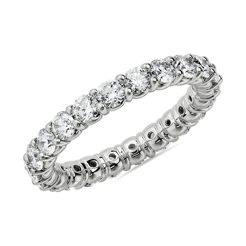 Comfort Fit Round Brilliant Diamond Eternity Ring in 14k White Go