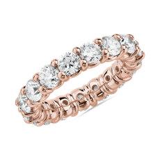 新款 18k 玫瑰金内圈圆弧设计圆形璀璨钻石永恒戒指<br>(4 克拉总重量)