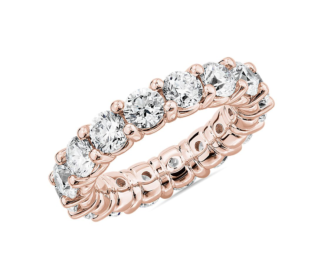 Comfort Fit Round Brilliant Diamond Eternity Ring in 18k Rose Gold (5 ct. tw.)