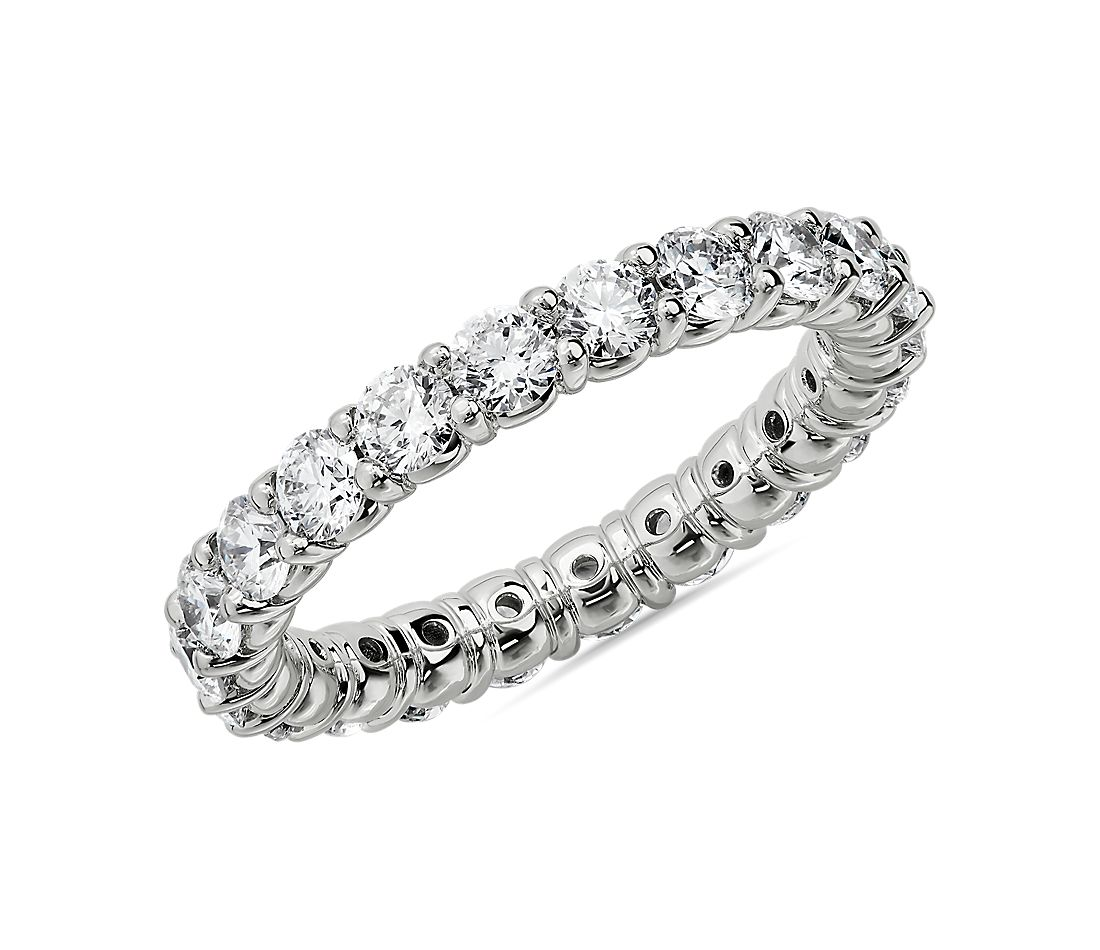 Comfort Fit Round Brilliant Diamond Eternity Ring in 18k White Gold (2 ct. tw.)