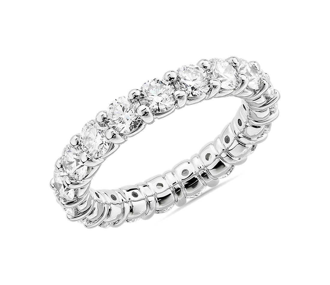Comfort Fit Round Brilliant Diamond Eternity Ring in 18k White Gold (3 ct. tw.)