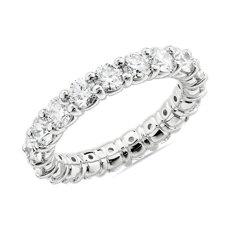 新款 18k 白金内圈圆弧设计圆形璀璨钻石永恒戒指<br>(3 克拉总重量)