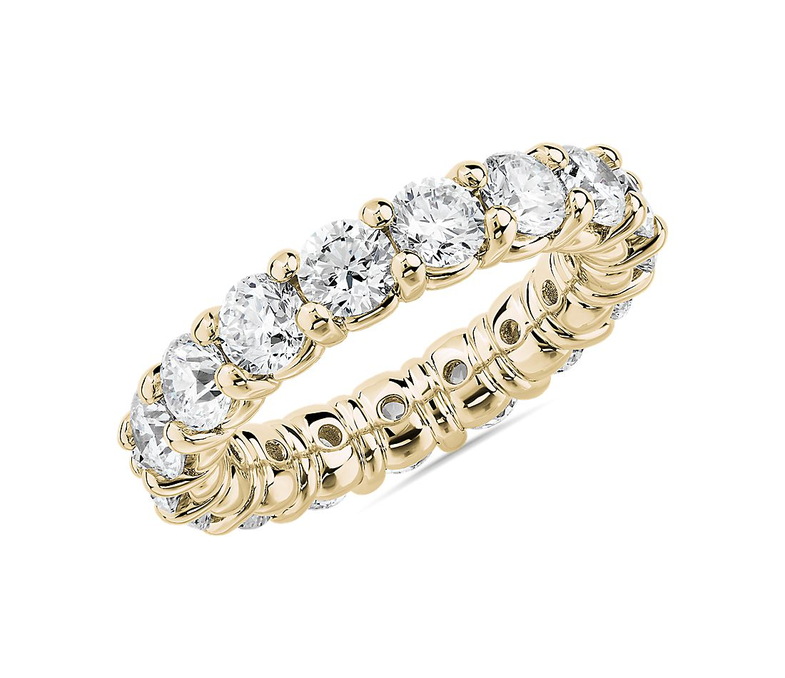 Comfort Fit Round Brilliant Diamond Eternity Ring in 18k Yellow Gold (4 ct. tw.)
