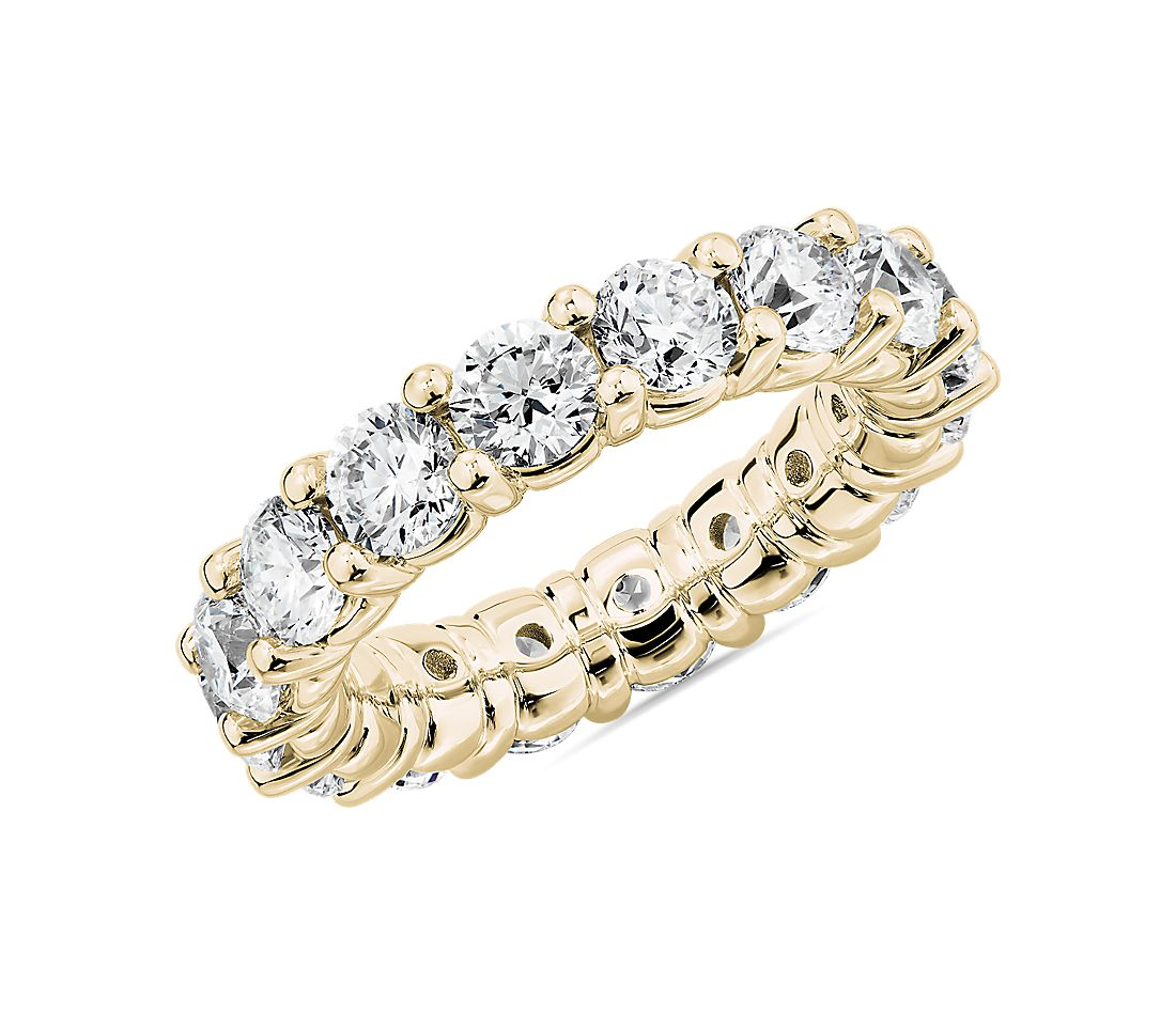 Comfort Fit Round Brilliant Diamond Eternity Ring in 18k Yellow Gold (5 ct. tw.)