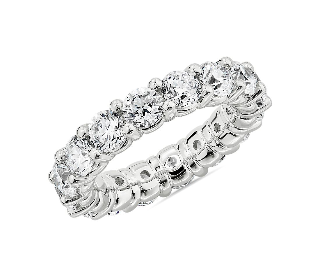 Comfort Fit Round Brilliant Diamond Eternity Ring in Platinum (4.65 ct. tw.)