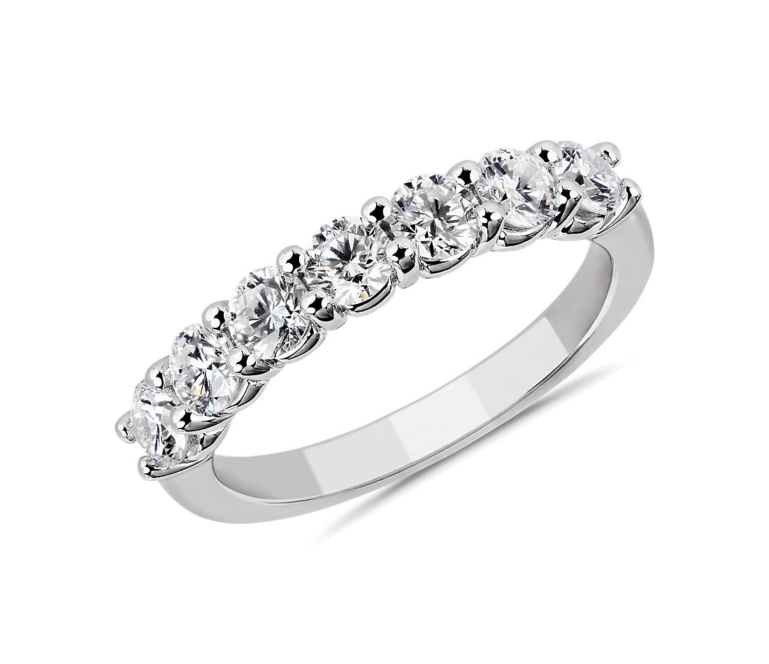 Comfort Fit Round Brilliant Seven Stone Diamond Ring in 14K White Gold (1 ct. tw.)