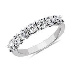 NEW Comfort Fit Round Brilliant Seven Stone Diamond Ring in 14K White Gold (1 ct. tw.)