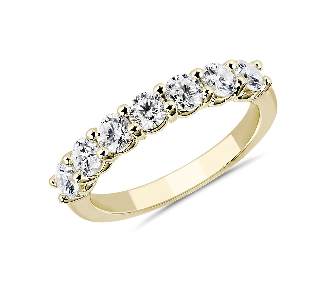 Comfort Fit Round Brilliant Seven Stone Diamond Ring in 14K Yellow Gold (1 ct. tw.)