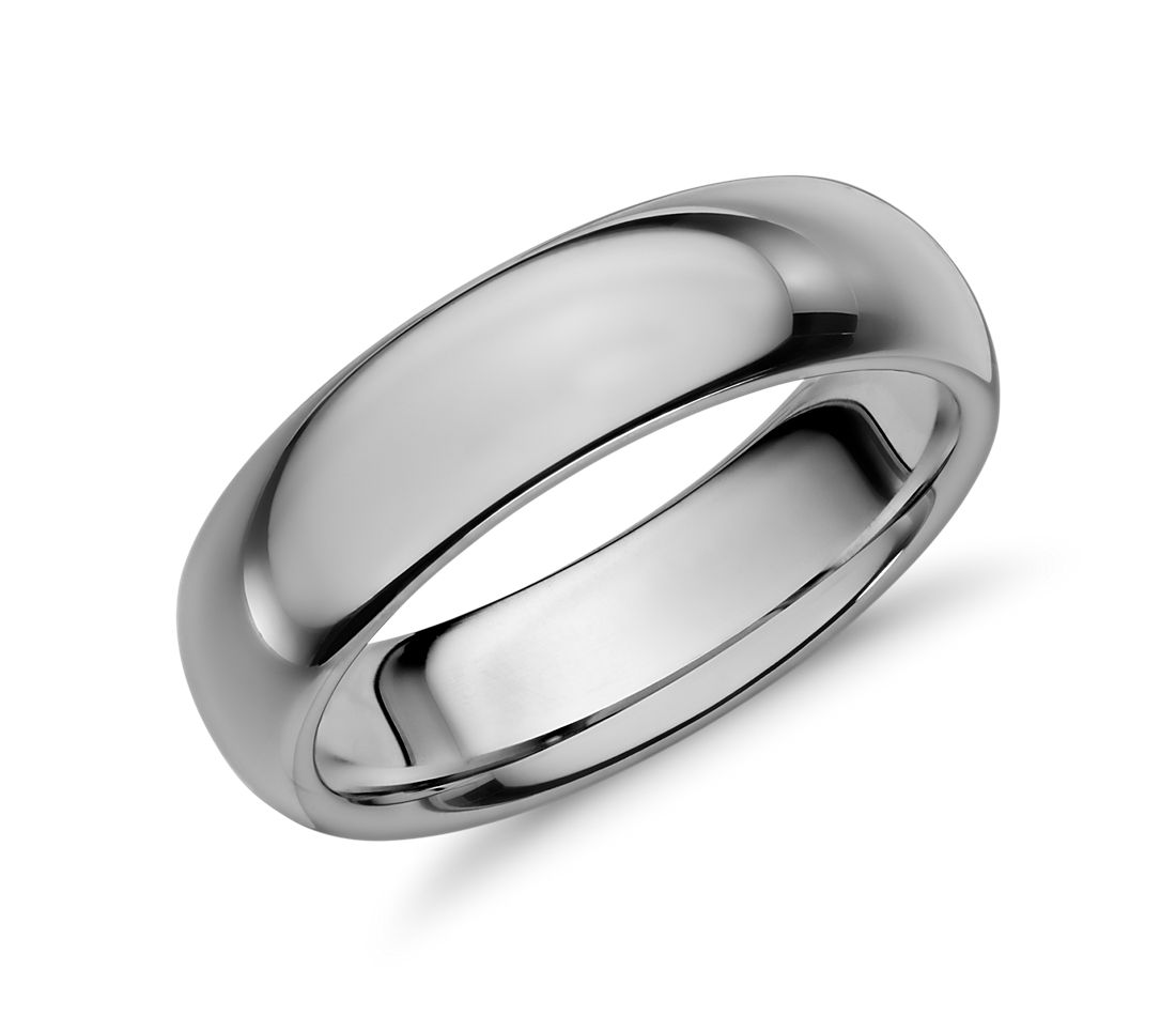 Comfort Fit Wedding Ring in Grey Tungsten Carbide (6mm)