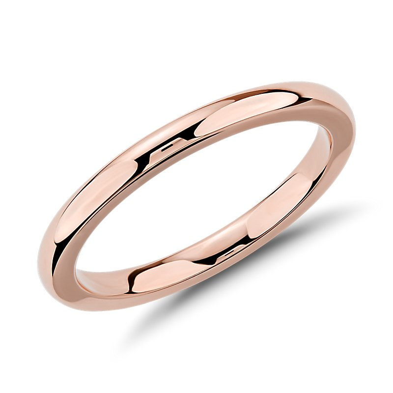 Comfort Fit Wedding Ring in 14k Rose Gold (2mm)