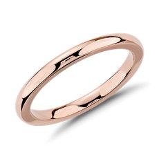 14k 玫瑰金內圈卜身設計結婚戒指(2毫米)