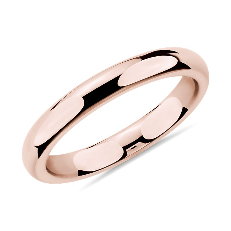 Comfort Fit Wedding Ring in 14k Rose Gold (3mm)