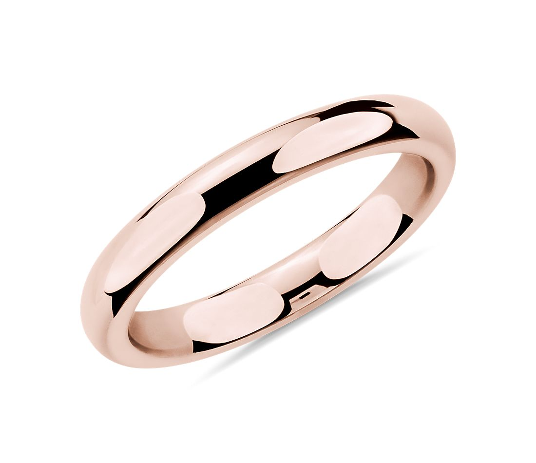 Alliance confort en or rose 14 carats (3 mm)