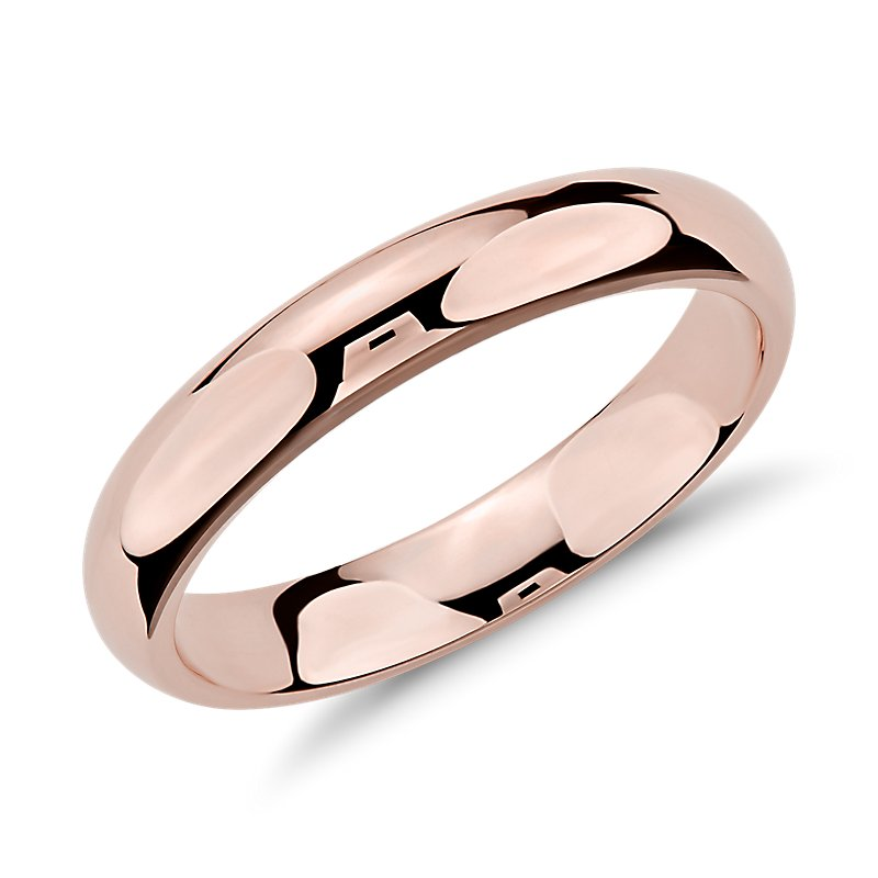 Comfort Fit Wedding Ring in 14k Rose Gold (4mm)