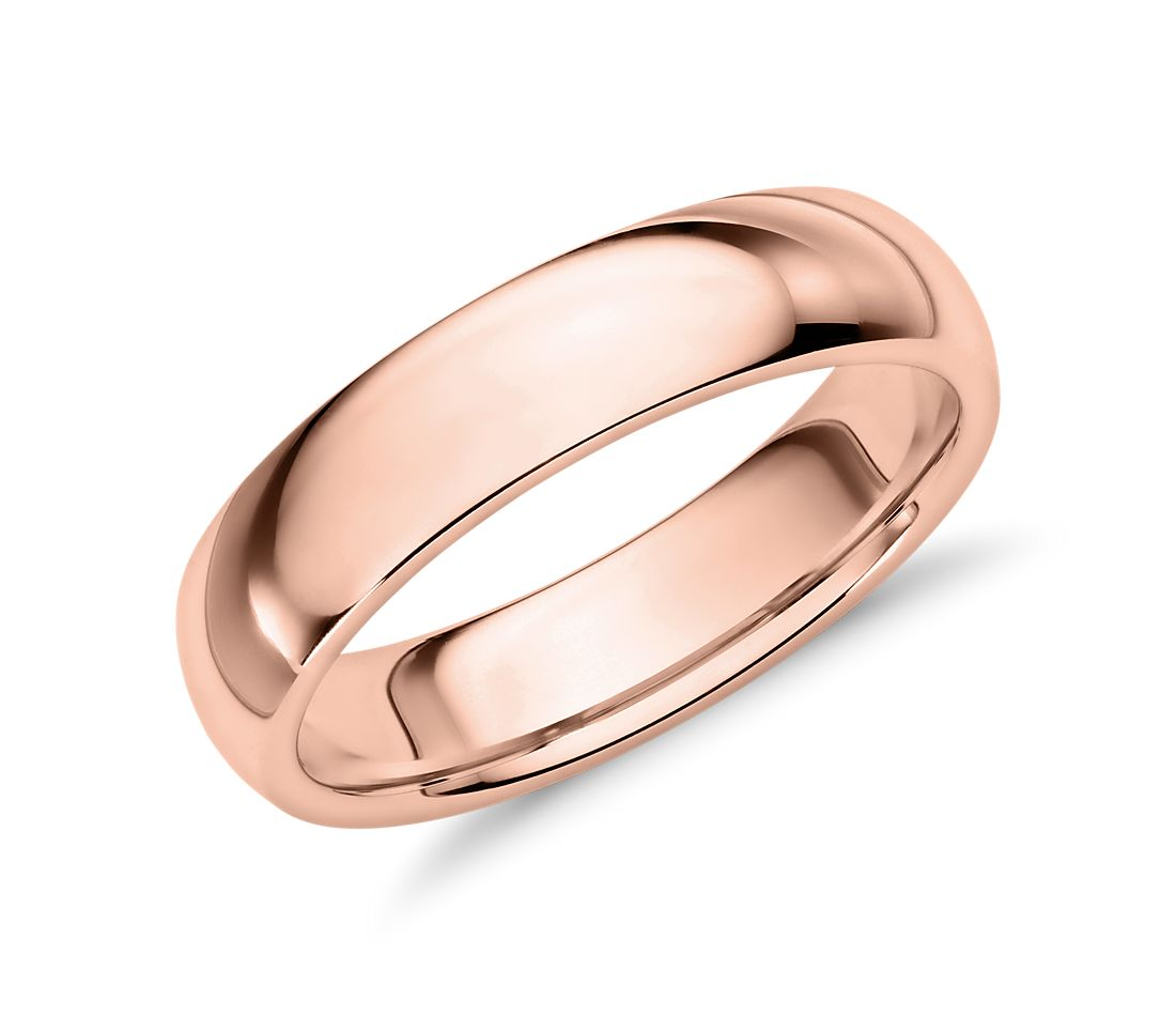 Comfort Fit Wedding Ring in 14k Rose Gold (5mm)