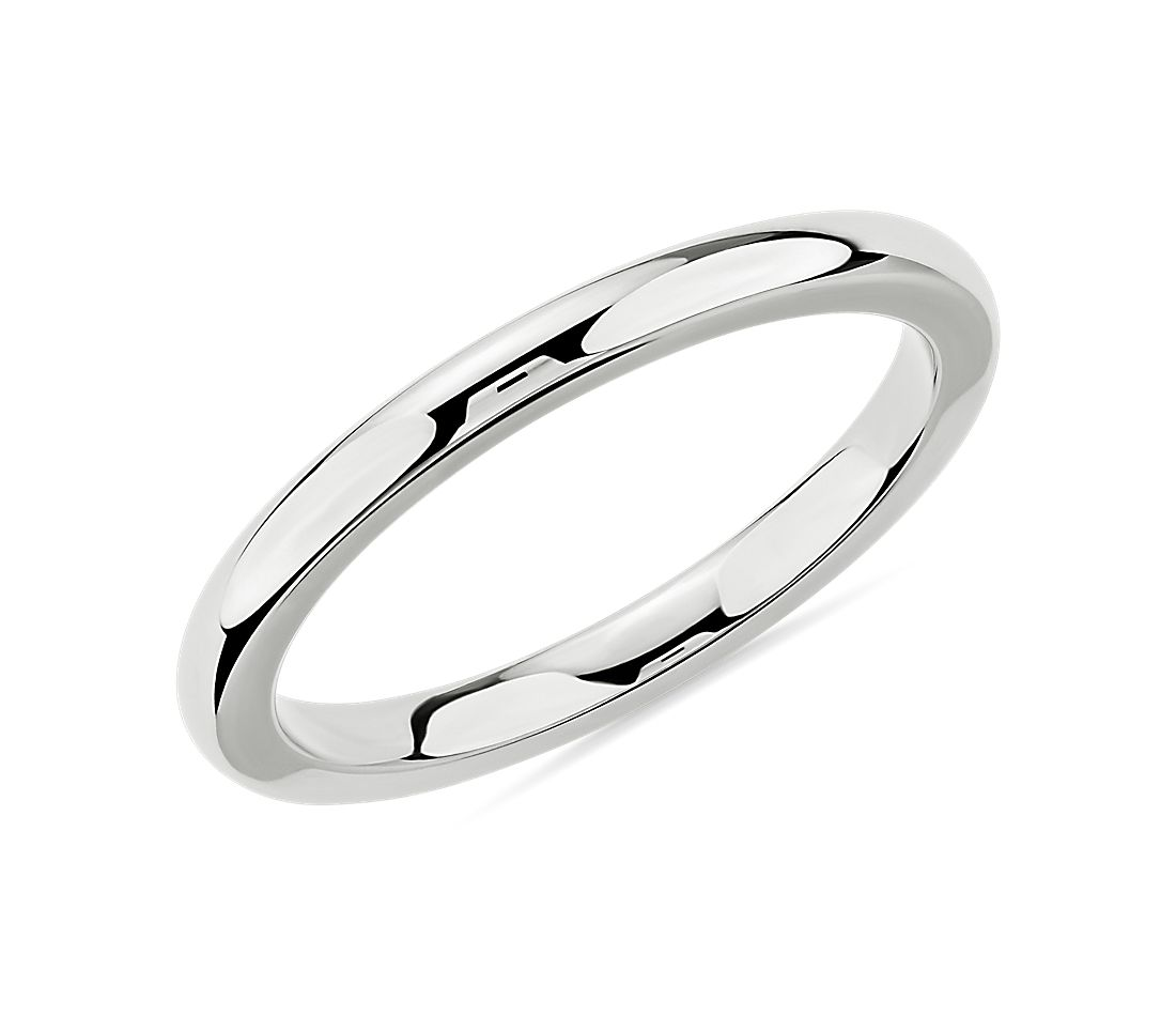 Comfort Fit Wedding Ring in 14k White Gold (2mm)