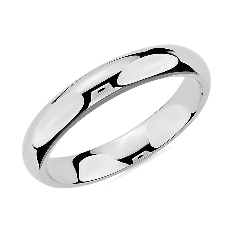 Comfort Fit Wedding Ring in 14k White Gold (4mm)
