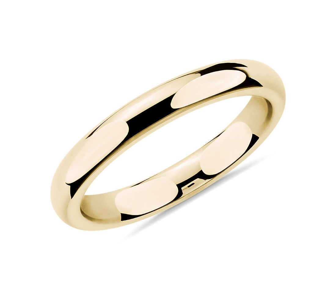 Comfort Fit Wedding Ring in 14k Yellow Gold (3mm)