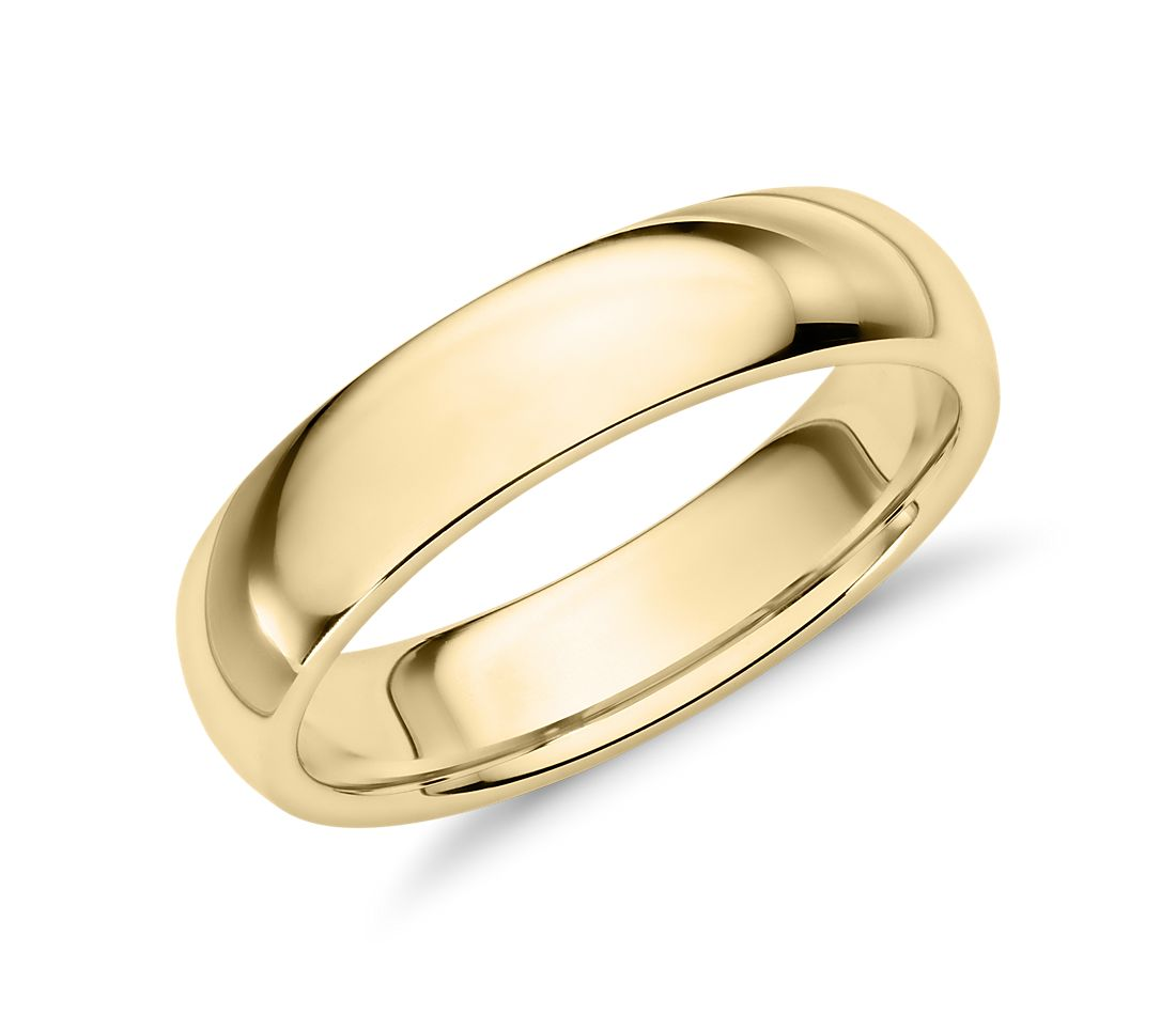 Comfort Fit Wedding Ring in 14k Yellow Gold (5mm)