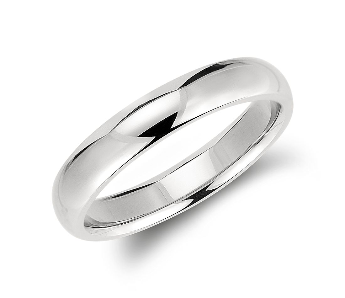 Comfort Fit Wedding Ring In Palladium 4mm