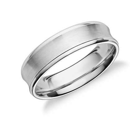 Concave Wedding Ring in Platinum (6mm)