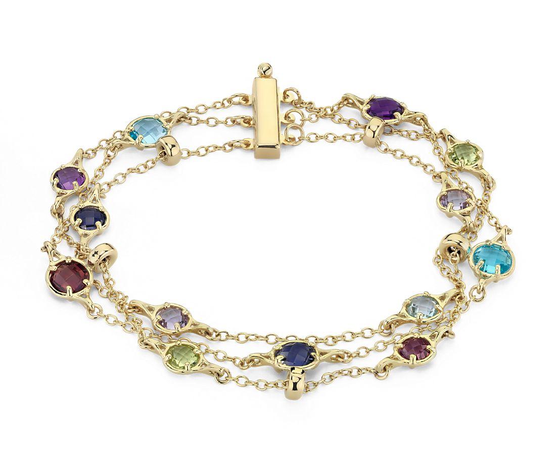 Confetti Multi Gemstone Triple Strand Bracelet In 14k