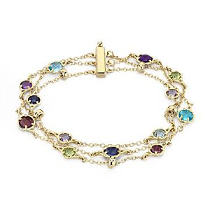 NEW Confetti Multi-Gemstone Triple Strand Bracelet in 14k Yellow Gold