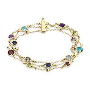 NEW Confetti Multi-Gemstone Triple Strand Bracelet in 14k Yellow Gold