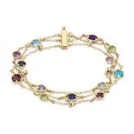 Confetti Multi-Gemstone Triple Strand Bracelet in 14k Yellow Gold