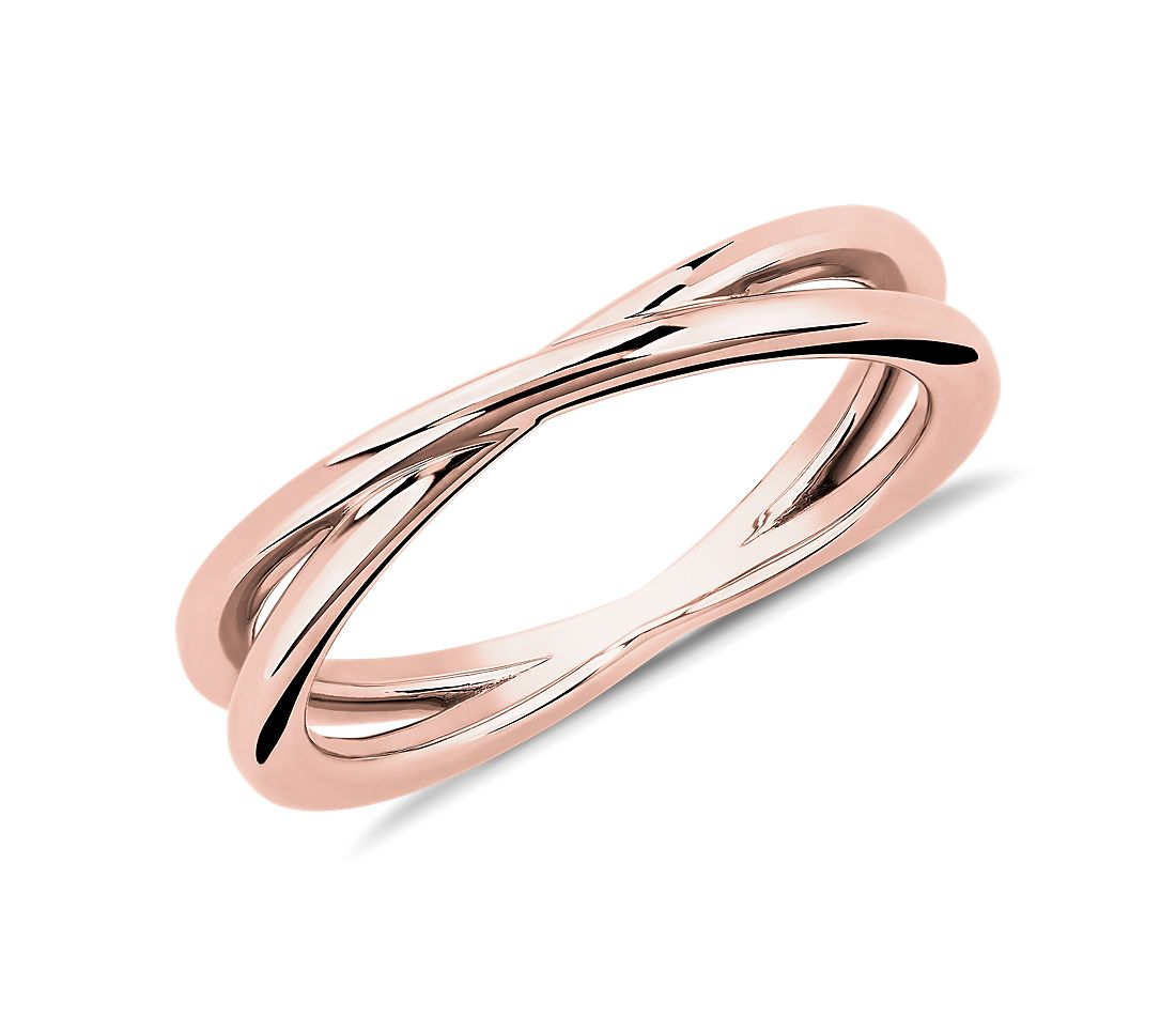 Contemporary Criss-Cross Ring in 18k Rose Gold