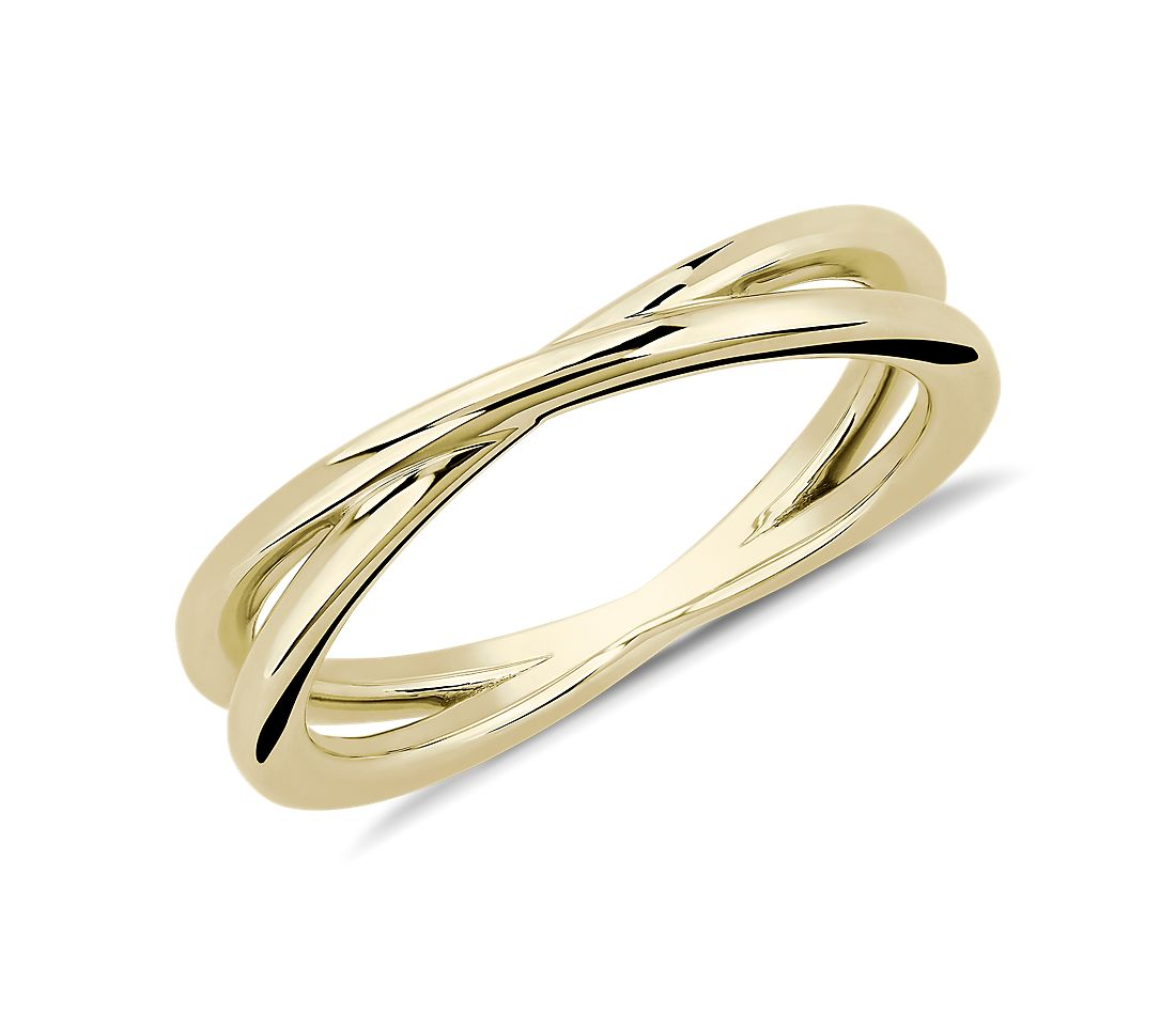 Contemporary Criss-Cross Ring in 18k Yellow Gold
