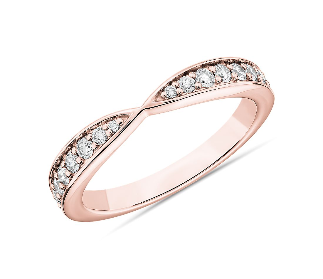 Contemporary Tapered Wedding Ring in 14k Rose Gold (1/3 ct. tw.)