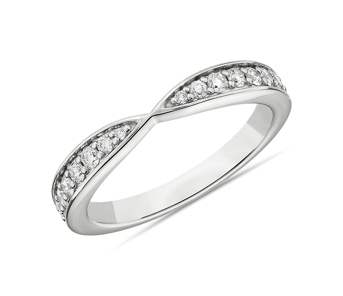 Contemporary Tapered Wedding Ring in 18k White Gold (1/3 ct. tw.)