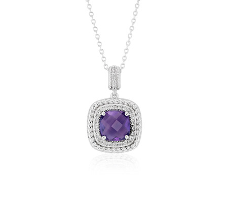 Corda Cushion-Cut Amethyst Halo Pendant in Sterling Silver (8mm)