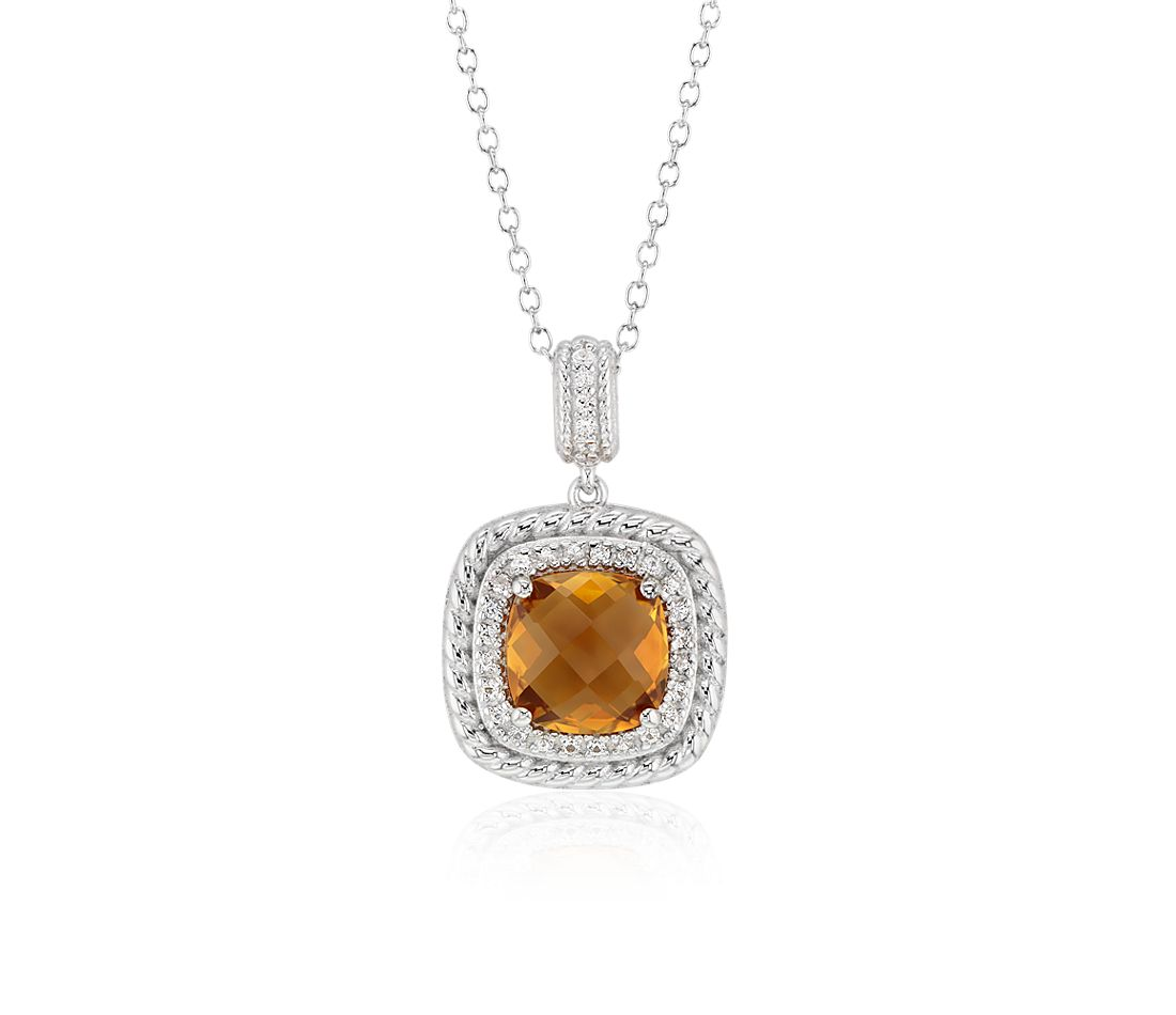 Corda Cushion-Cut Citrine Halo Pendant in Sterling Silver (8mm)