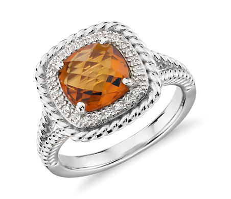 Corda Cushion-Cut Citrine Halo Ring in Sterling Silver (8mm)