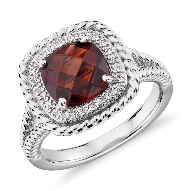 Corda Cushion-Cut Garnet Halo Ring in Sterling Silver (8mm)