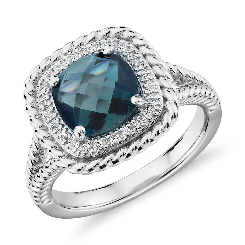 Corda Cushion-Cut London Blue Topaz Halo Ring in Sterling Silver