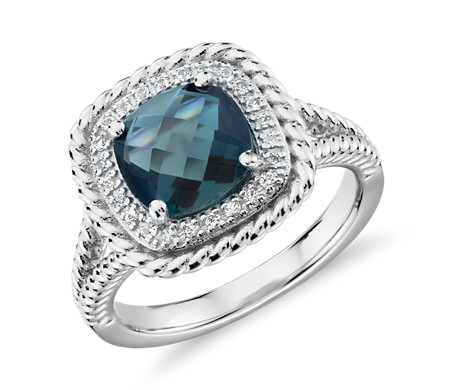 Corda Cushion-Cut London Blue Topaz Halo Ring in Sterling Silver (8mm)